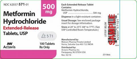 """Label, Actavis Metformin Hydrochloride Extended-Release Tablets, 500 mg, 100 tablets"""
