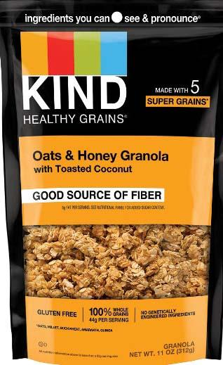 Photo 1 – Labeling, Kind Oats & Honey Granola with Toasted Coconut label, front