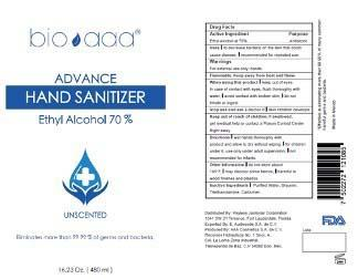 """""""bio aaa Advance Hand Sanitizer, 16.23 oz front and back wrap around label"""""""