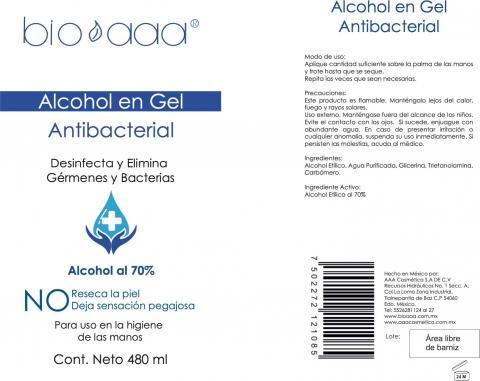 Photo 1 – Labeling, bio aaa alcohol en gel antibacterial