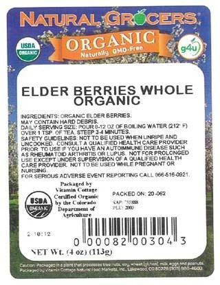 """Natural Grocers Organic Whole Elder Berries, 4 oz. package"""