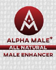 """ALPHA MALE+, ALL NATURAL, MALE ENHANCER, foil pouch front"""