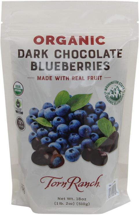 Front of package, Torn Ranch Organic Dark Chocolate Blueberries