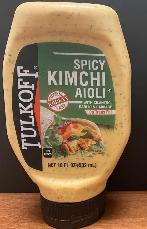 Front Bottle Label TULKOFF SPICY KIMCHI AIOLI, NET 18 FL OZ