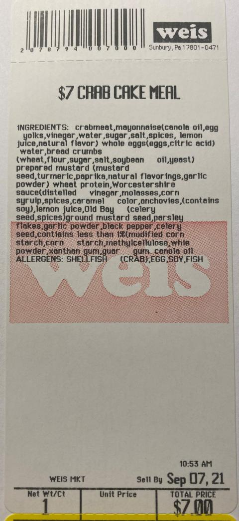 Weis Crab Cake Meal, package label example