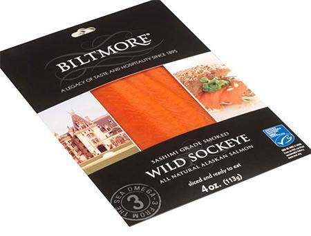 Biltmore Wild Smoked Sockeye Salmon, Net Wt 4 oz (front label)