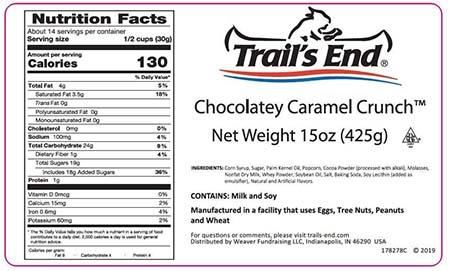Trail's End Chocolatey Caramel Crunch, Net Wt. 15 oz label