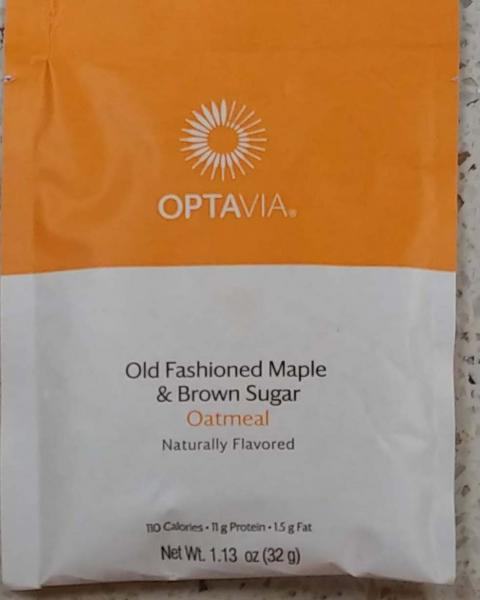 Front Label:  OPTAVIA, Essential Old Fashioned Maple & Brown Sugar Oatmeal, Naturally Flavored, Net Wt. 1.3 oz.(32 g)