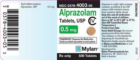 Alprazolam Tablets, USP C-IV 0.5mg. MYLAN RX Only 500 Tablets
