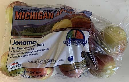 """Jonamac apples Great Lakes Great Flavor Michigan Apples 3lb. Plastic Bag"""