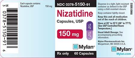 """Label, Mylan Nizatidine Capsules, 150mg"""