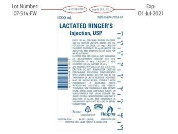 Label:  LACTATED RINGER'S Injection, USP, 1000 mL