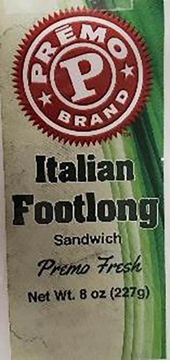Product labeling, Premo Italian Footlong 8oz