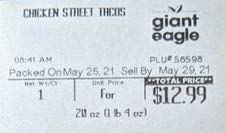 Label, Chicken Street Taco Kit