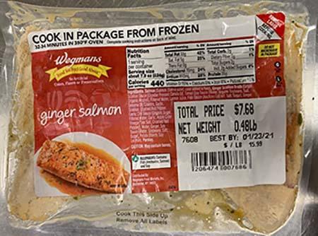 Wegmans Ginger Salmon, Best by Dates 01/23/2021, 02/13/2021