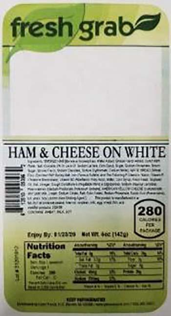 Product labeling, Fresh Grab Ham & Cheese on White Wedge Sandwich 5 oz