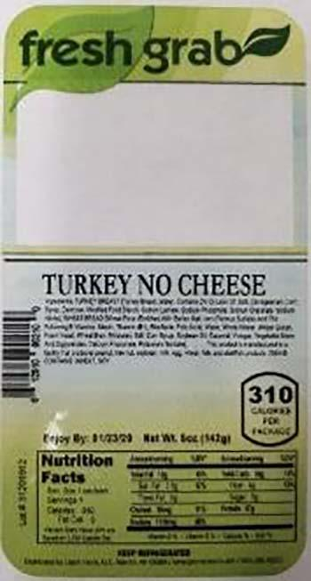 Product labeling, Fresh Grab Turkey No Cheese Wedge Sandwich 5 oz