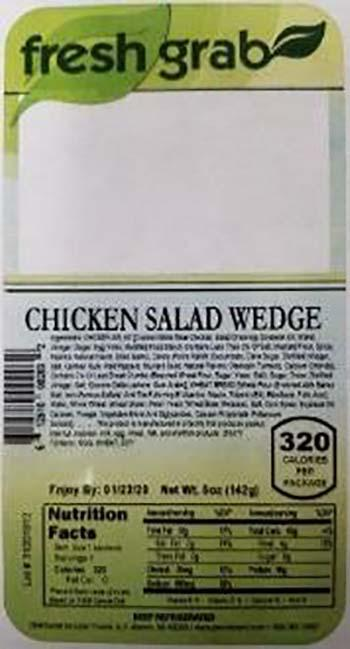 Product labeling, Fresh Grab Chicken Salad Wedge Sandwich 5 oz