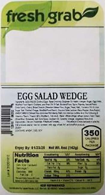 Product labeling, Fresh Grab Egg Salad Wedge Sandwich 5 oz