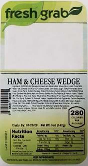 Product labeling, Fresh Grab Ham & Cheese Wedge Sandwich 5 oz