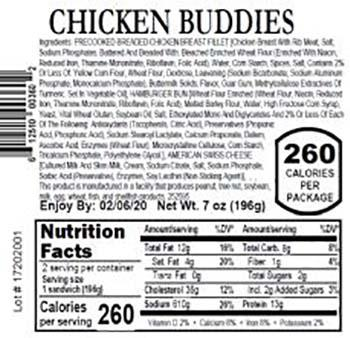 Product labeling, Fresh Grab Chicken Buddies 7 oz