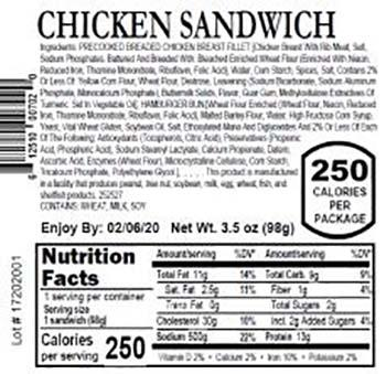 Product labeling, Fresh Grab Chicken Sandwich 3.5 oz