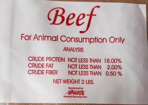 Label -  Beef for Animal Consumption Only, Analysis, BRAVOS