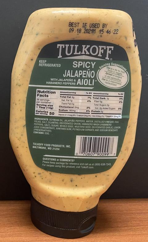Back Bottle Label TULKOFF SPICY JALAPENO KIMCHI AIOLI, Nutrition Facts and Ingredient List