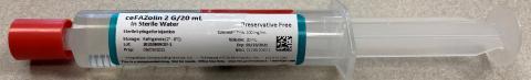 Photo 1 – ceFAZolin 2/20mL syringe