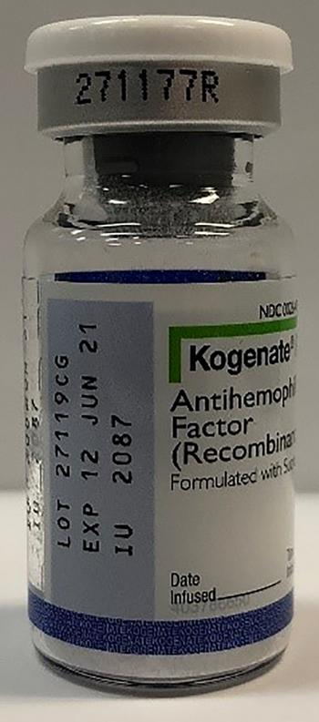 """Product photos, Kogenate® FS antihemophilic factor (recombinant) 2000 IU vials, Lot 27118RK"""