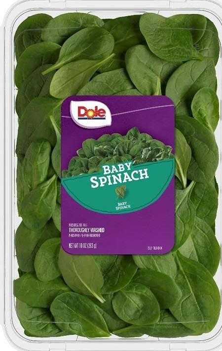 Clam shell label, Dole Baby Spinach