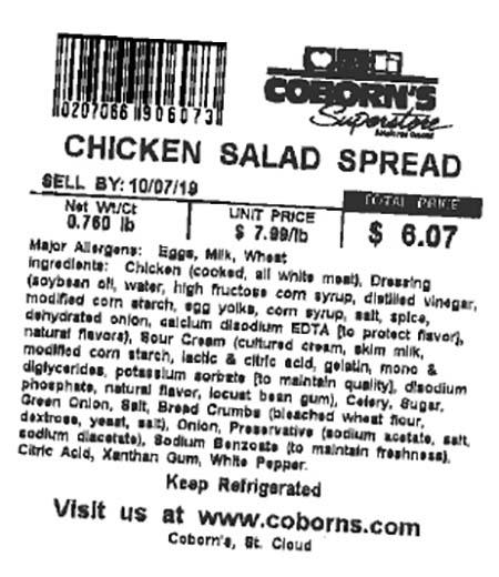 Label, Chicken Salad Spread