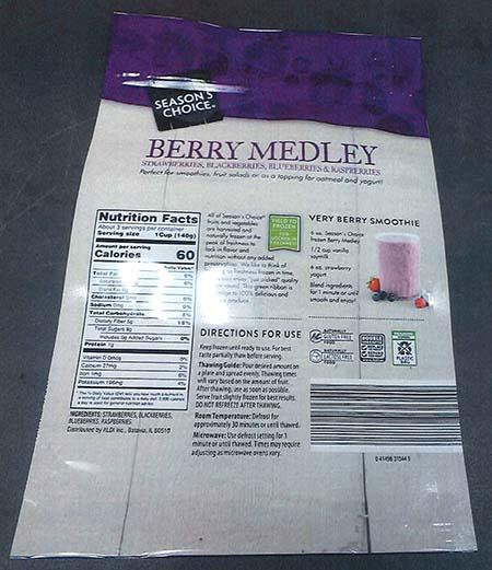 Back label Season's Choice frozen Berry Medley 16 oz bag