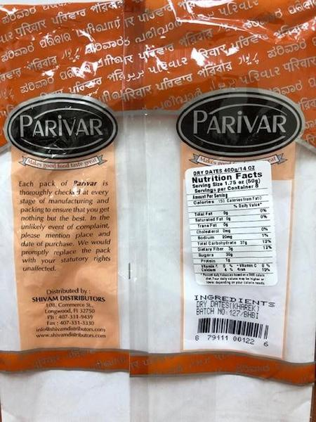 """Labeling, Parivar Dry Dates"""