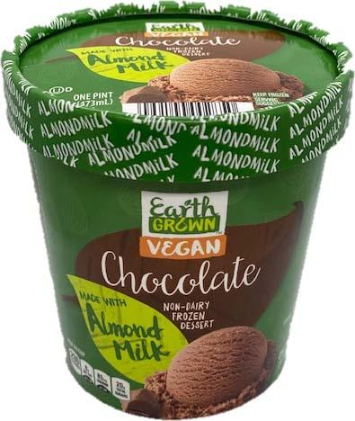 Product image, Earth Grown Vegan Chocolate Non-Dairy Frozen Dessert 16 oz/Pint