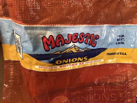 """Product label, Majestic Onions 10 LBS mesh sack"""