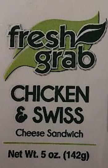 Product labeling, Fresh Grab Chicken & Swiss Cheese Sandwich