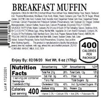 Product labeling, Fresh Grab Breakfast Muffin