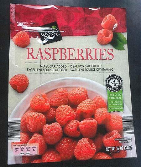 Front label Season's Choice frozen Raspberries 12 oz bag