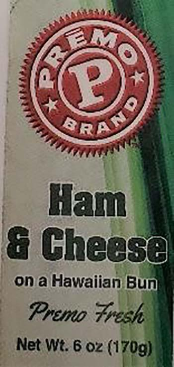 Product labeling, Premo Ham & Cheese on a Hawaiian Bun 6oz