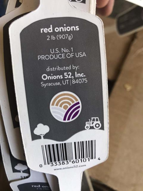 """Product label, Onions 52, Inc. red onions 2 lb"""