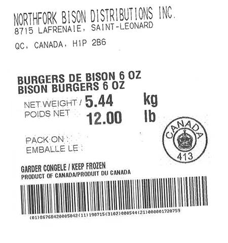 Product labeling Northfork Bison Distributions Inc. Bison Burgers 6oz Net Weight 12 LBS