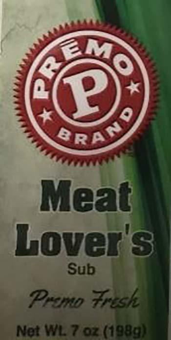 Product labeling, Premo Meat Lover's Sub 7 oz