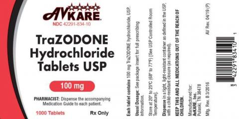 Product labeling AvKare Sildenafil Tablets USP 100 mg, 100 Tablets Rx Only