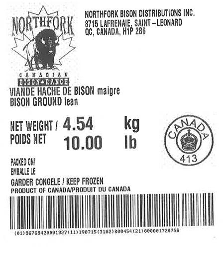 Product labeling Northfork Bison Distributions Inc. Bison Ground lean, Net Weight 10 LB