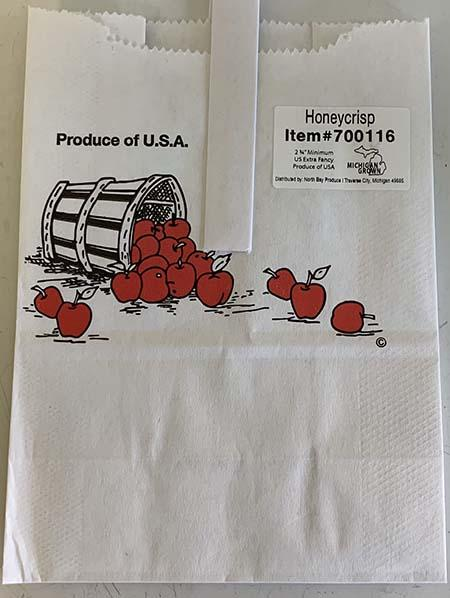 """Honeycrisp apples Quarter Peck Paper Tote Bag, Product of MI-USA"""