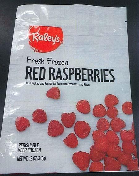 Front label Raley's Fresh Frozen Red Raspberries 12 oz bag