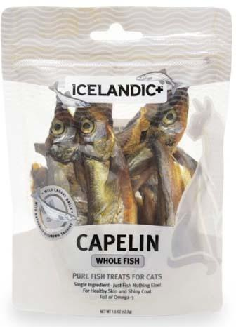Label Front:  ICELANDIC+ CAPELINE WHOLE FISH FOR CATS, 1.5 oz. Bag