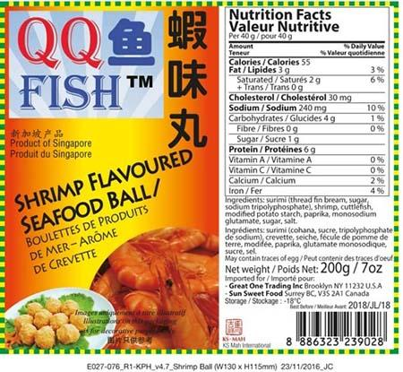 Label:  QQ FISH Shrimp Flavoured Seafood Ball
