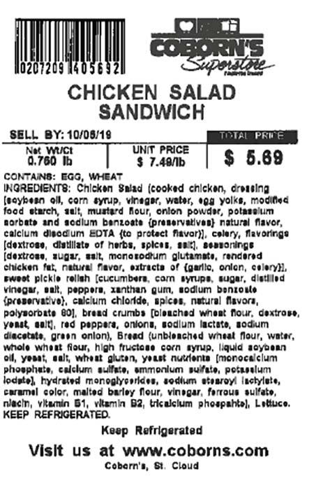 Label, Chicken Salad Sandwich